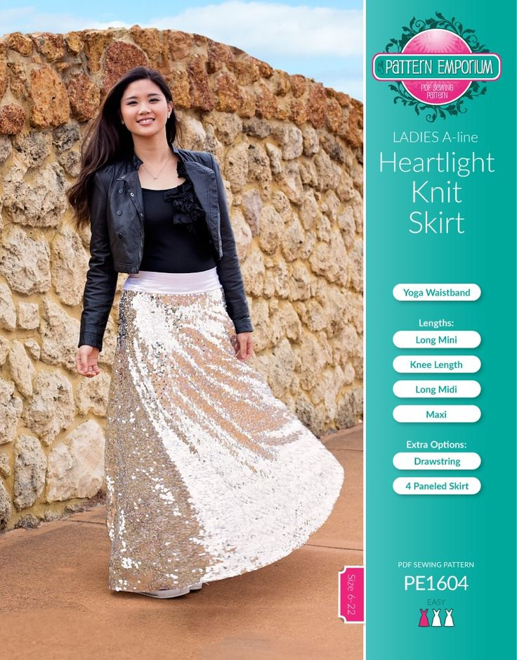 Our new release, the Ladies Heartlight Knit Skirt. SPECIAL PATTERN RELEASE PRICE: 6pm Friday 29 April - Sunday 1st May (Aussie time) $10 (Normal price $12.50).   Sew yourself an A-line Knit Skirt with comfortable yoga-style waistband in Mini, Knee, Midi or Maxi length.