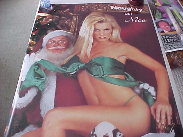 Rare 1995 Jenny McCarthy Sitting on Santa's Lap Official Playboy Poster Decor Wall Hanger NAUGHTY BUT NICE Christmas A Warehouse Find