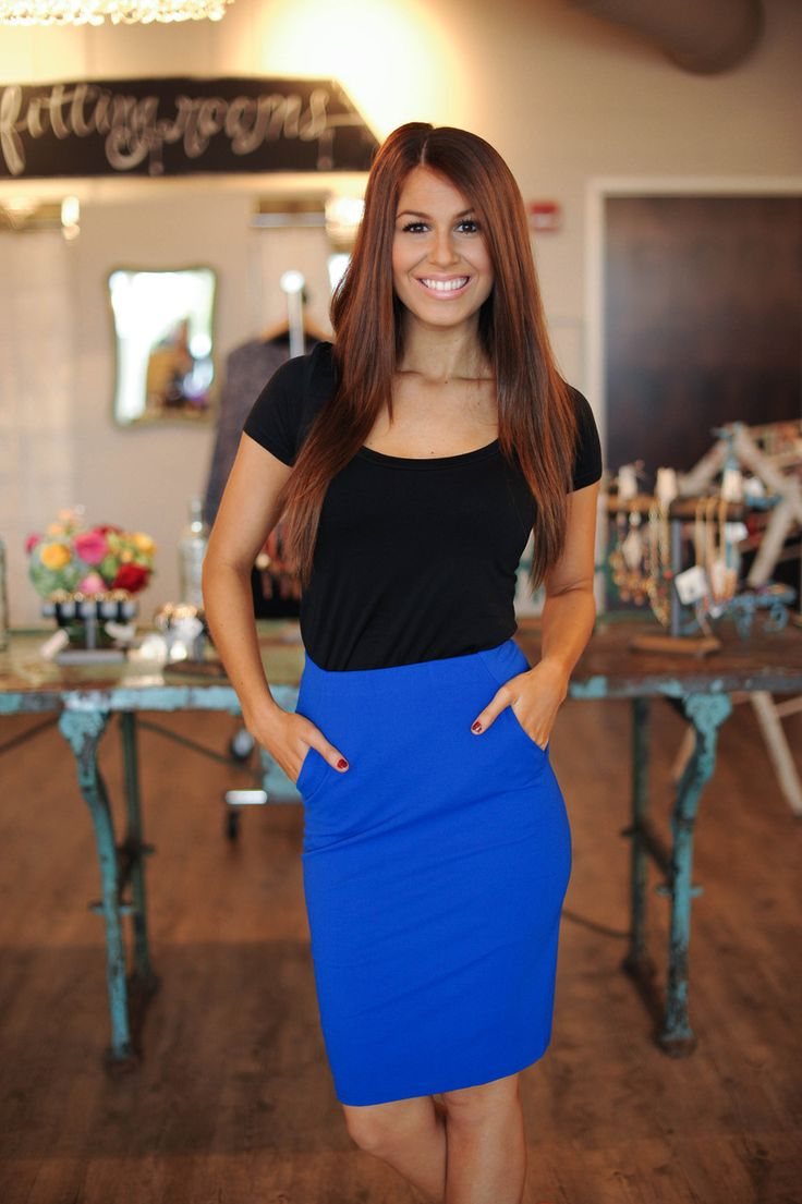11 best images about Blue Pencil Skirt on Pinterest | White tops ...
