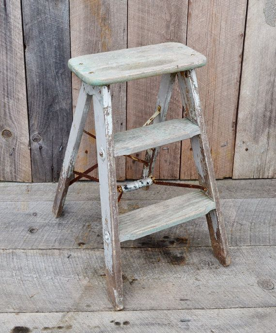 Vintage Weathered Wood Step Ladder Small By
