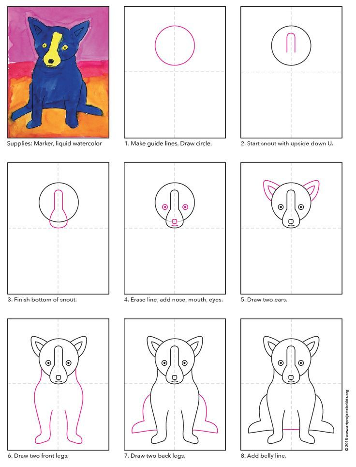 How To Draw George Rodrigues Blue Dog PDF Tutorial Available Rodrigue Bluedog