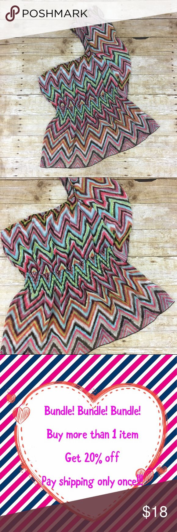 One Shoulder Chevron Top Off the shoulder One Shoulder Chevron Top by Speechless. About 21 inches long. Brown, pink, blue and white. Speechless Tops