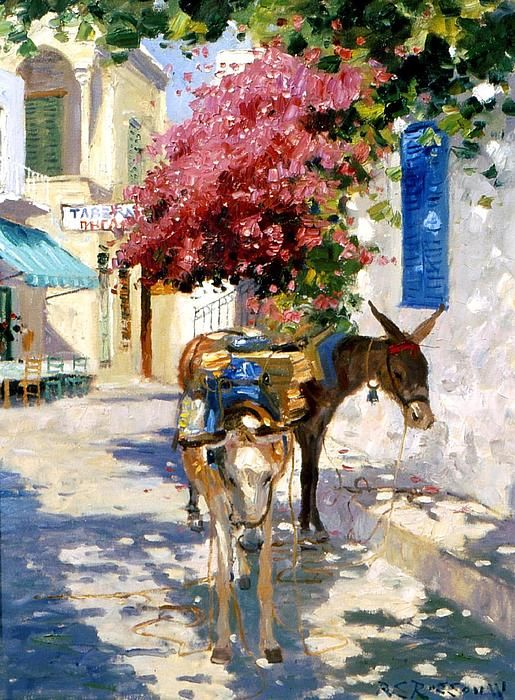 Pack Mules In Greece, Oil on Canvas; Roelof Rossouw