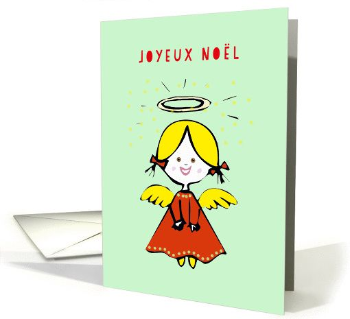 Joyeux No�l, Merry Christmas in French, Angel card