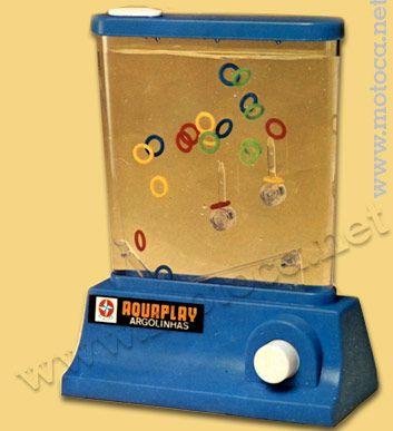 Aquaplay Argolinhas (Estrela). Este modelo é um dos mais famosos. As versões mais recentes, como a do personagem Bob Esponja, tem como novidade efeitos sonoros. Reprodução do catálogo do fabricante, década de 70.
