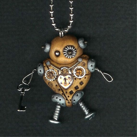 Cute steampunk robot heart necklace