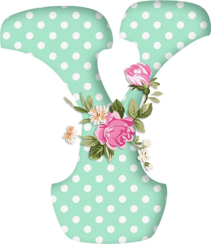 PAPIROLAS COLORIDAS: Abecedario con flores. Letras mayúsculas verdes, puntos blancos. Letra Y.