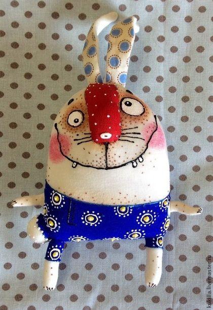Игрушки животные, ручной работы. Смешные зайцы. Любовь Лаврентьева. Авторские куклы. Ярмарка Мастеров. Заяц текстильный, заяц
