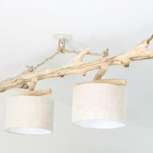 Lustre/plafonnier en bois flotté - lin 28cm - unique - double suspension - led