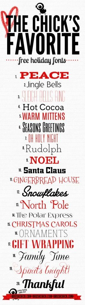 Free Font Fridays! – Holiday Themed || Brush Chick ||  ~~ {20 free fonts w/ easy download links}