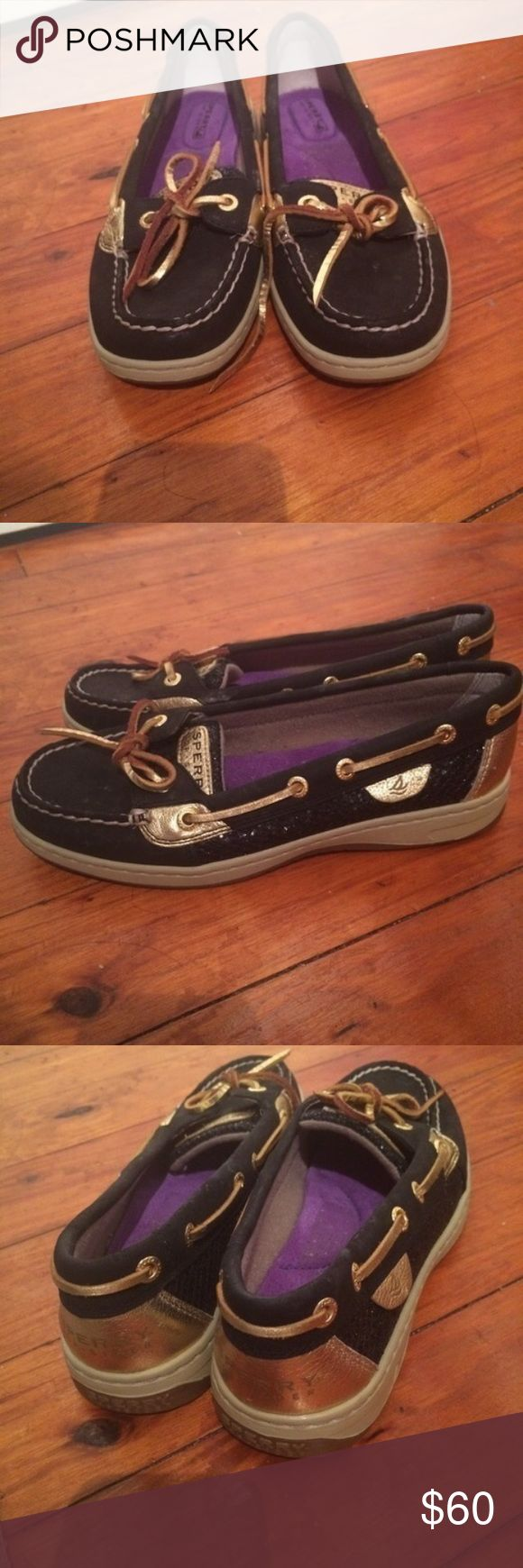 Sperry boat shoes Sperry womens angelfish boat shoes. Brand new! Never worn! Size 6.5! Black and gold! Prices are negotiable! Sperry Shoes Sneakers