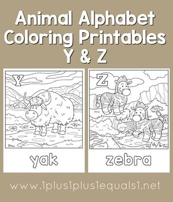 FREE Animal Alphabet Coloring Pages Y & Z