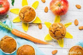 Gesunde Kinder Carrot Cake Muffins mit verstecktem Gemüse & Obst sind ein super Snack für Zwischendurch