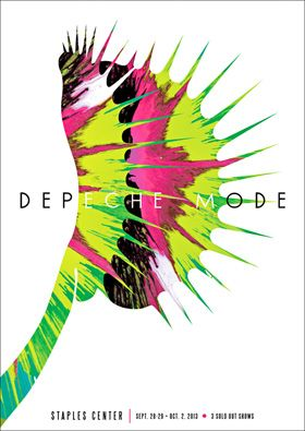 "DEPECHE MODE  Sept. 28-29, Oct. 2 2013 Artwork by Kii Arens 17"" x 24"" Fluorescent Lithograph Signed/Numbered series of 100 $40"