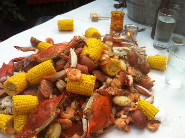 Crab boil of Crab, Shrimp, Corn Cobs, Red Potatoes, Sausage, and maybe ...