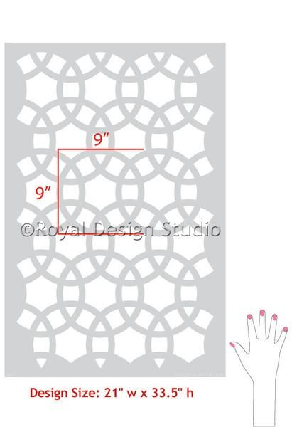 The Meknes Circles Moroccan Wall Stencil is reminiscent of its namesakes' arches. Incorporating Moroccan design with a Modern and Geometric flare, a series of i