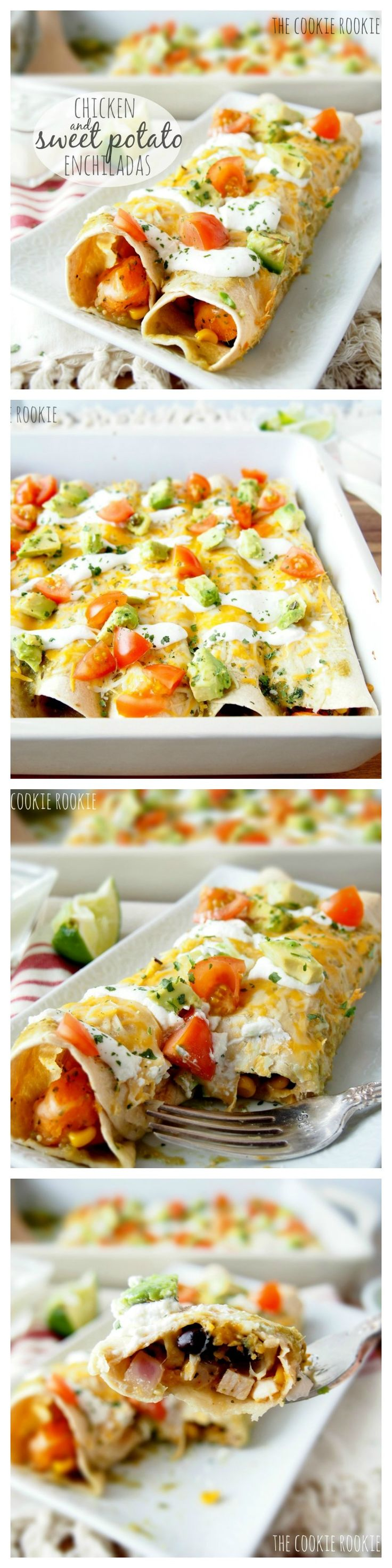Chicken & Sweet Potato Enchiladas...healthy and delicious!! love this flavor {The Cookie Rookie}