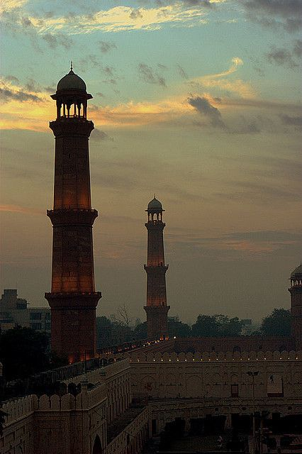 The minarets of Badshahi Masjid at dusk in Lahore, Pakistan