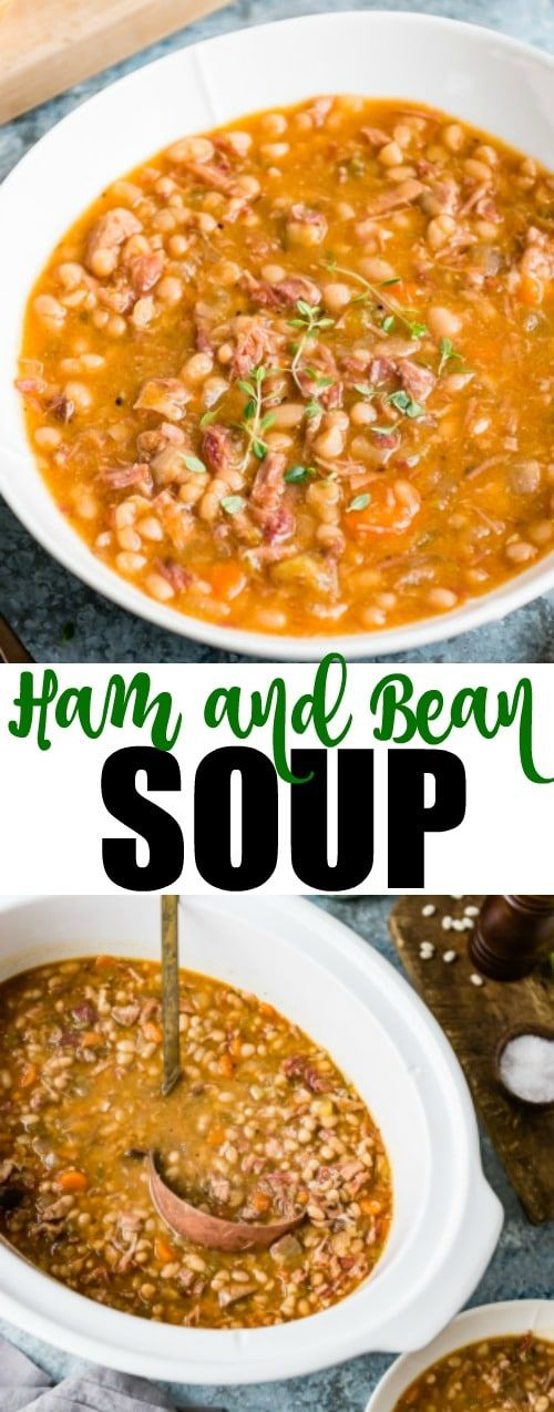 An easy recipe for Slow Cooker Ham and Bean Soup. Always buy a bone-in ham so you can make this soup! You don't need to soak the beans ahead, either. It's easy, delicious, and made right in your crockpot.