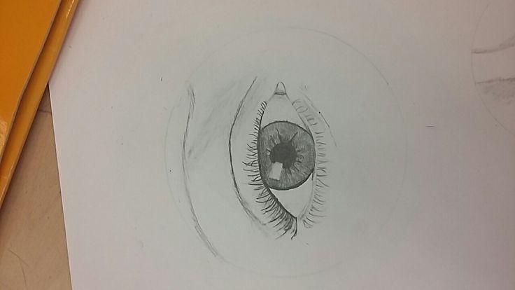 Ik heb vandaag het oog afgemaakt. Ik heb de winpers onder het oog opnieuw gemaakt en nu is het gelukt. Ik heb met een doezelaar de iris afgemaakt.