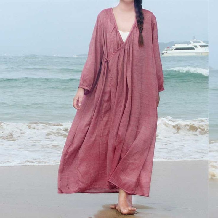 Comfort Casual Plain Loose Silk Dress