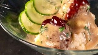 Swedish Meatballs with Potato Puree and Pickled Cucumbers Recipe | The Chew - ABC.com