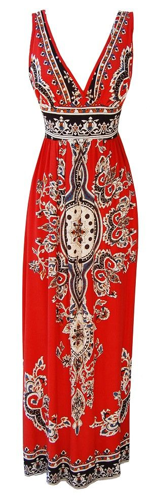 Red Tribal Maxi Dress