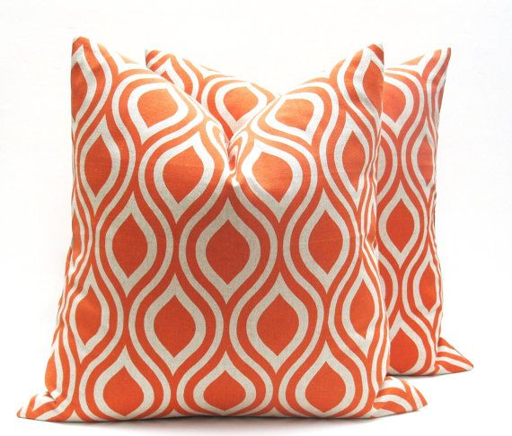 SALE Throw pillow covers 20 x 20 Orange Tan Pillow Decorative Throw Pillows  Burnt Orange Pillow Print on both sides Fall Pillow