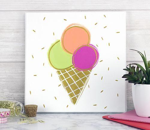 Triple Scoop Ice Cream Canvas Art -- Make a bright triple scoop ice cream canvas!  #decoartprojects