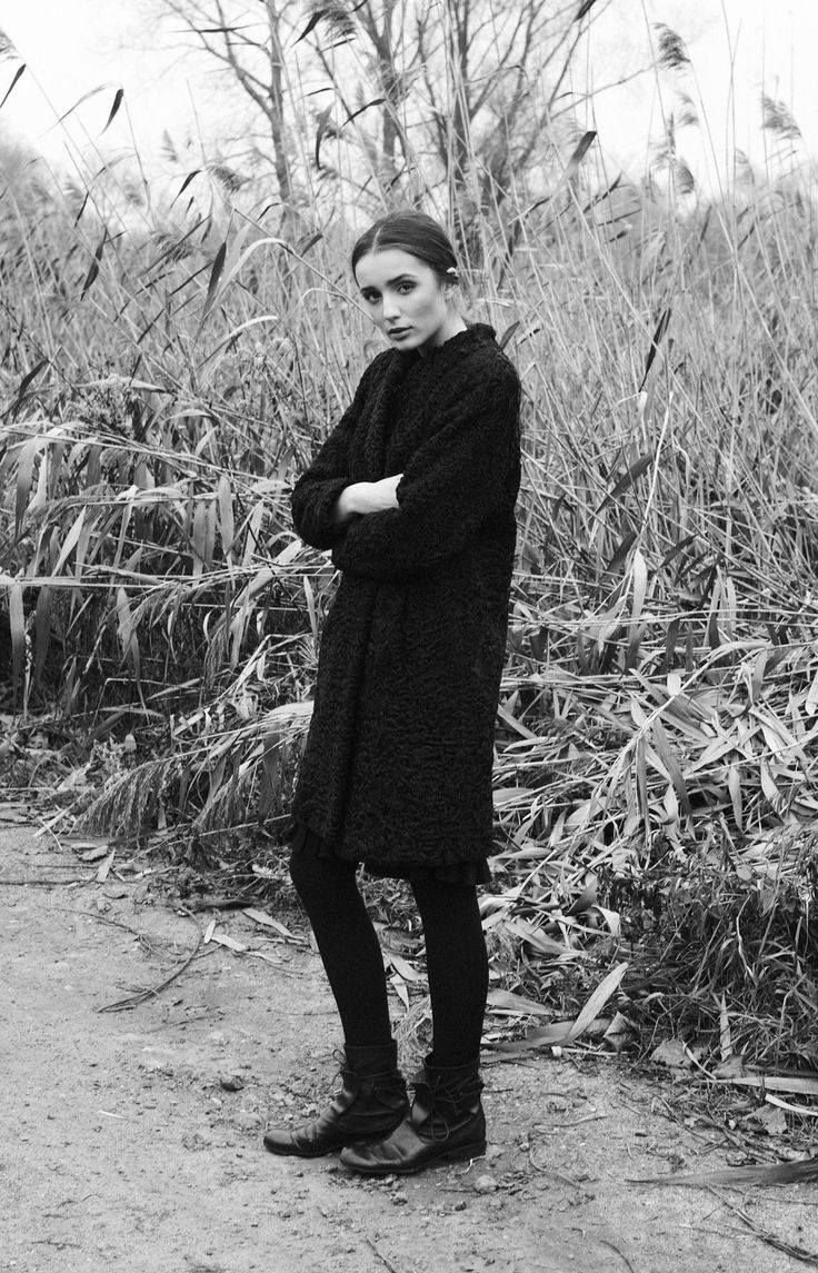 Black narrow silhouette | Minimal + Classic: Zofia Chylak - Black  astrakhan coat