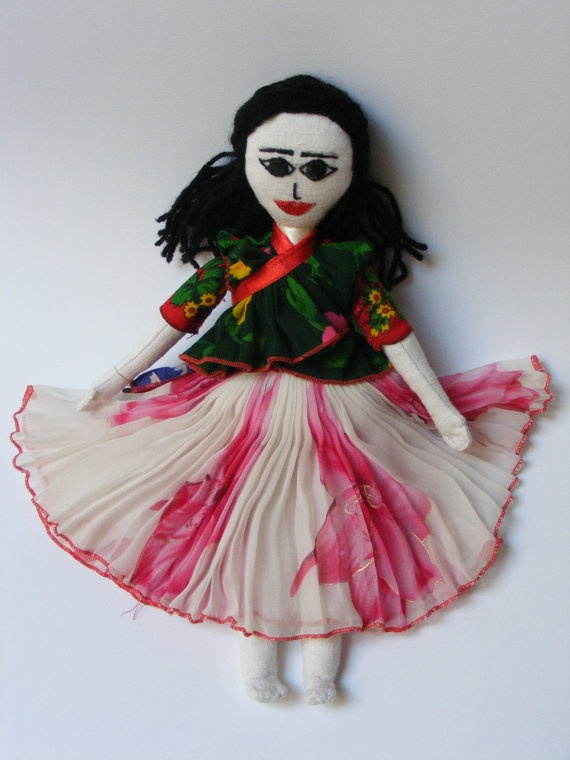 Colorful Roma (Gypsy) dolls - $35 - these lovely hand-sewn dolls, produced in a Roma family shop, are 35 cm tall. Crafted with textured linen, yarn, muslim, and satin, these dolls are clothed in removable, traditional Roma dress.