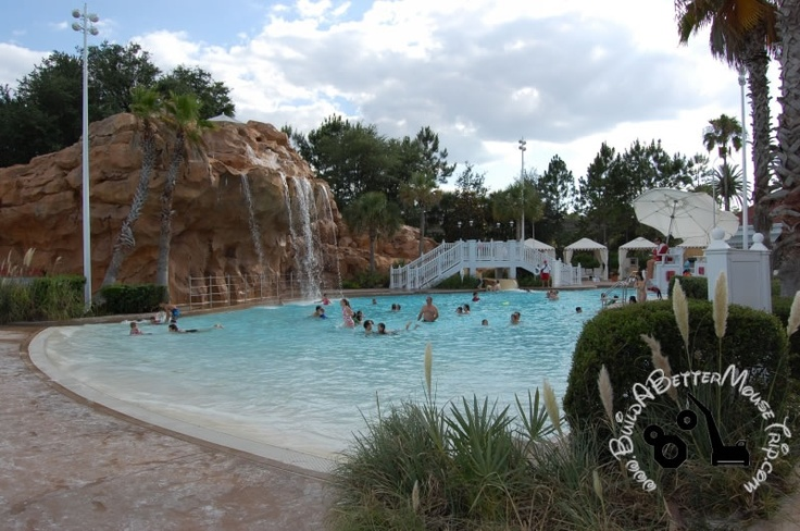 Beach pool with a rock waterfall and water slide at disney - Used swimming pool slides for inground pools ...
