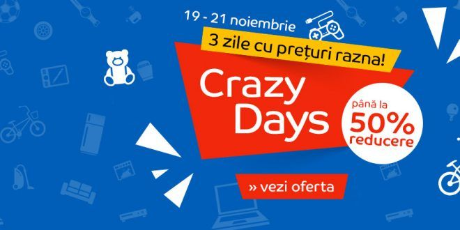 Reduceri eMAG Crazy Days. Televizoare, telefoane, electrocasnice.