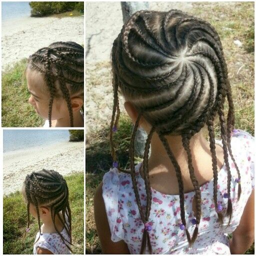 Torch braid. She has a fringe so braided it back and over. Cool hairstlyes for little girls
