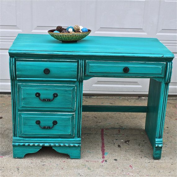 Patina Green Vintage Desk/ Turquoise/ Vanity/ Bedroom Furniture/ TV Stand/ Storage/ Distressed/ Rustic from AquaXpressions on Etsy