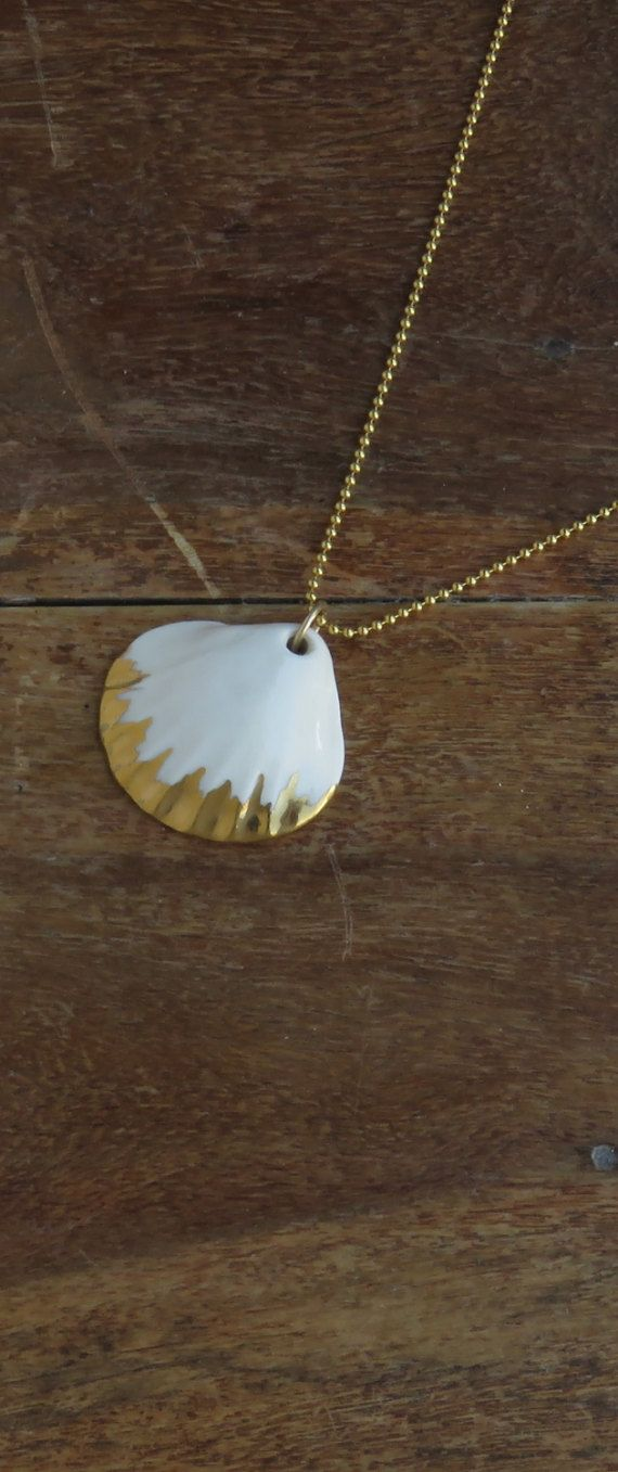 This perfectly white porcelain Shell, beach necklace, Mermaid Necklace, porcelain jewelry, beach necklace, mermaid necklace, porcelain necklace, shell necklaces, pedant necklace, ocean necklace, nautical necklace, cute sea shell gold necklace, can be great gift for her or for you or