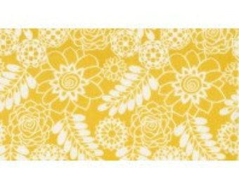 Bukhara Stencil Floral by Dear Stella - 1 Yard Yellow Gold and White Floral, Ferns, Botanical Quilt Fabric
