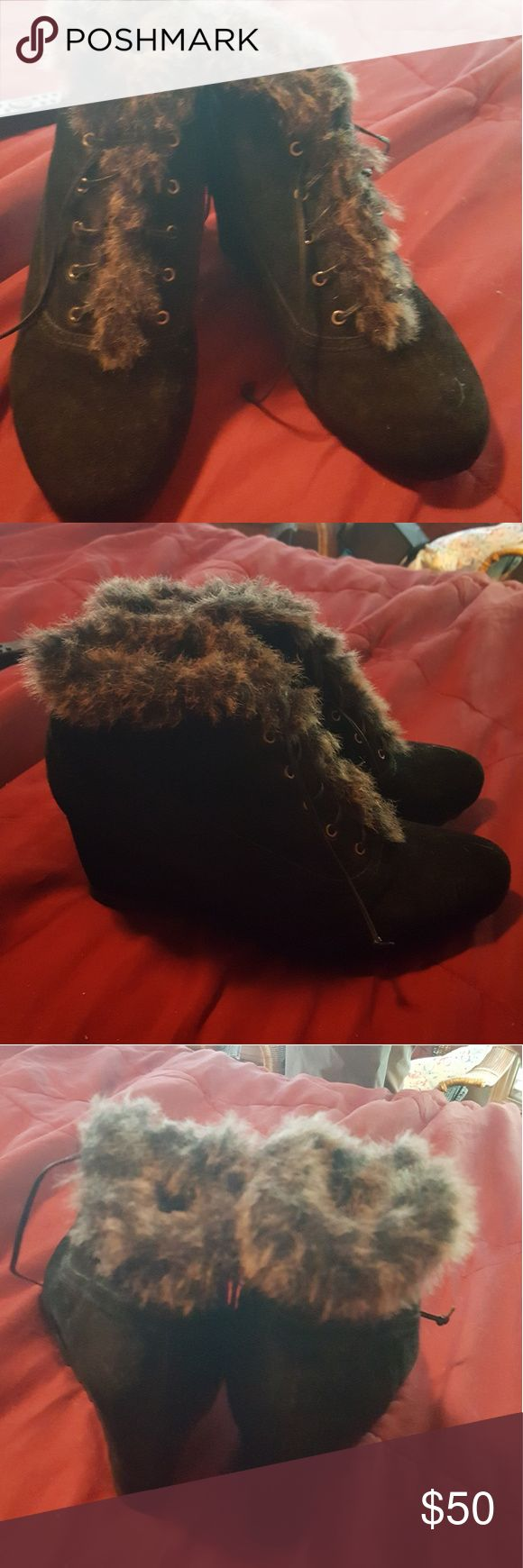 Women's earthies black boot with fur Ankle boot earthies Shoes Ankle Boots & Booties