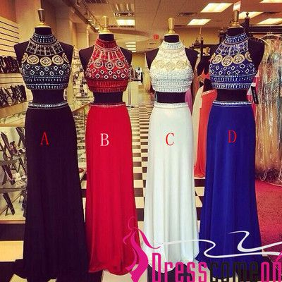 2 pieces prom dress 2015 new long beaded high neck royal blue two pieces prom gown