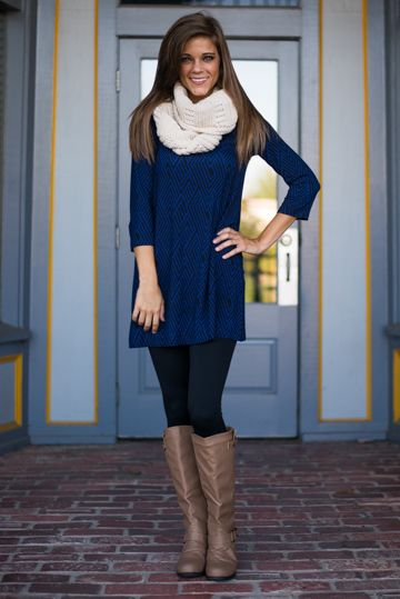"EEK! The black and navy print of this comfy tunic is truly a-maze-ing! ;) With such a fun style and amazing feel, you'll wear this one over and over again! <br /> <br />Bra-friendly! Material has generous amount of stretch. <br />Miranda is wearing the extra small. <br /> <br />Sizes fit: <br />Extra Small- 0-4; Small- 6; Medium- 8-10 <br />Length from shoulder to hem: XS- 30.5""; S- 31""; M- 31.5""."