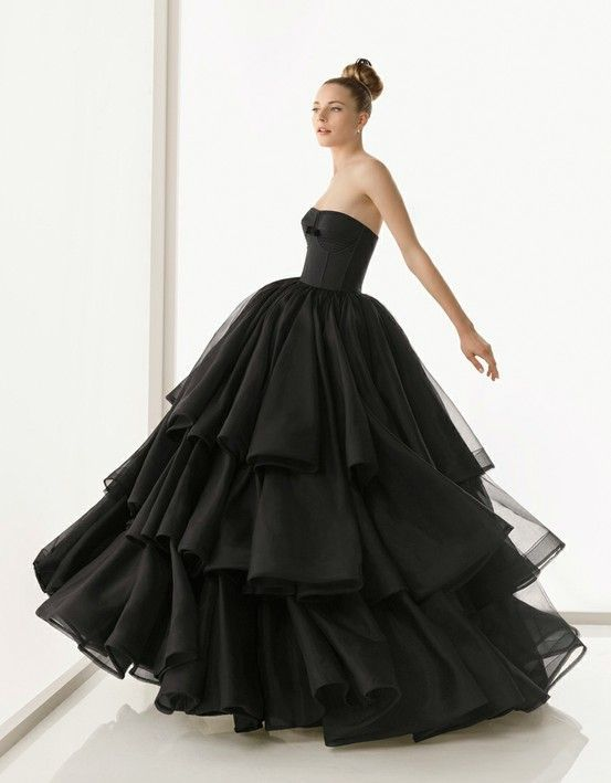 strapless black ball gown wedding dress