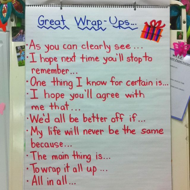 """Expository conclusion statements - or, a great way to START a """"Bell Ringer"""" writing activity!"""