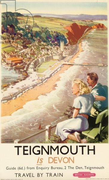 'Teignmouth is Devon', poster advertising British Railways, 1957#beach #pier #riviera #essenzadiriviera www.varaldocosmetica.it/en