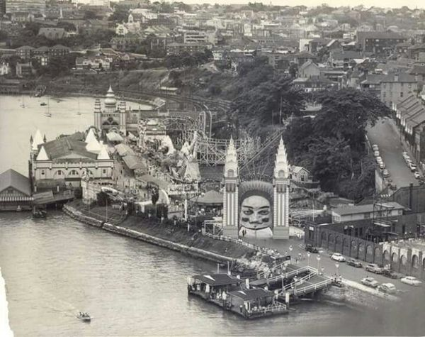 Luna Park view, taken from the Sydney Harbour Bridge, Sydney, Australia c.1950's. v@e.