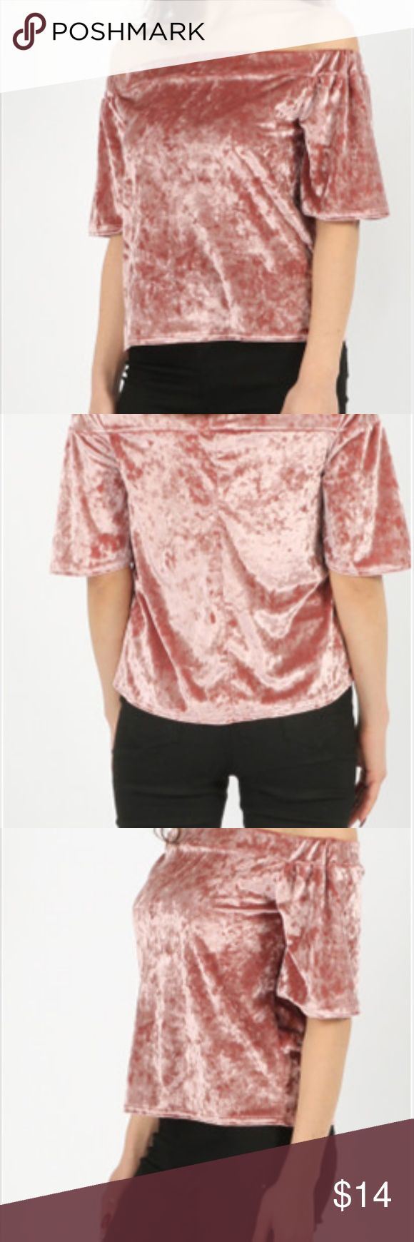 Off-the-Shoulder Velvet Top Off-the-Shoulder Velvet Top - color: Rose Pink  Crushed Velour Bardot Top in Black  Off Shoulder Neckline Crushed Velour Fabric 95% Polyester  Available in 3 colors! - Black, Grey, & Rose Pink  BRAND NEW! NWT!! Never been worn!! Comes from my online boutique - 'Rock N Threads' Tops Blouses