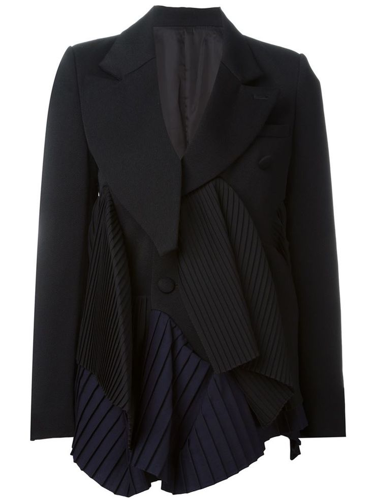 Facetasm Black Asymmetric Pleated Blazer
