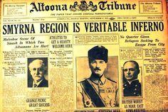 """18 Eylül 1922 tarihli bir Amerikan gazetesinin İzmir'le ilgili ilk sayfası. Manşette """"İzmir Gerçek Bir Cehennem"""" yazıyor. Yan tarafta, Amerikan gemilerinin kaçanları kurtarmaya çalıştığı anlatılıyor. Ortada """"Askerleriyle İzmir'i geri alan Mustafa Kemal Paşa; Küçük Asya, İstanbul ve Trakya kendisine geri verilmezse adamlarını gönderip İstanbul'u alacağını duyurdu."""" yazıyor. Ve altta """"İngilizler endişeli..."""