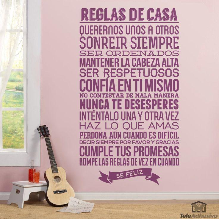 Vinilos Decorativos: Reglas de la Casa 1 #teleadhesivo #decoracion