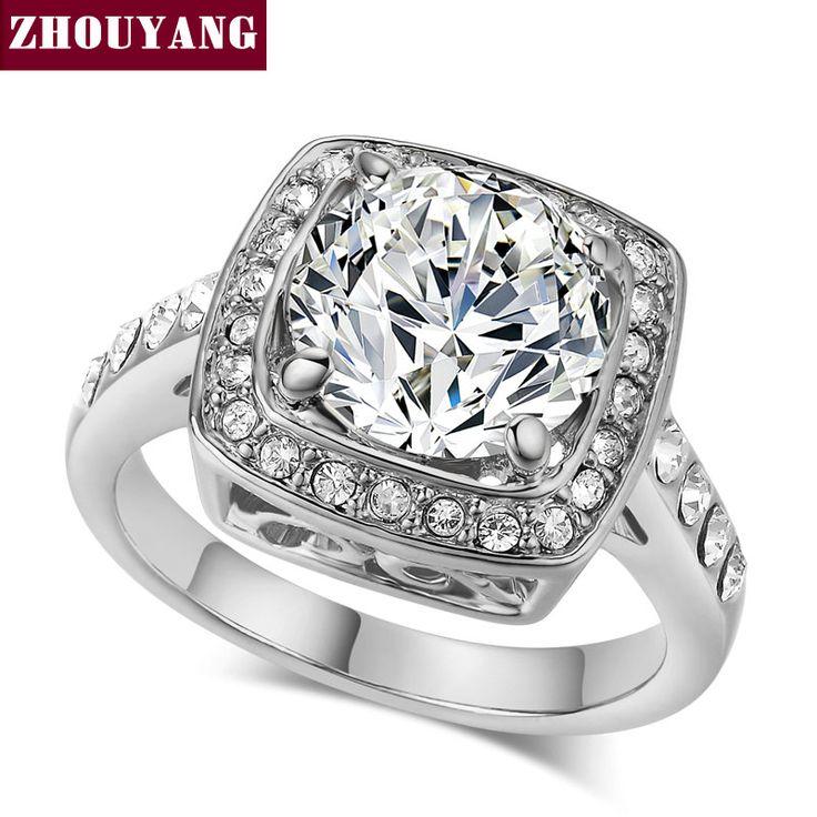Zhouyang zyr071 de calidad superior de cristal de color plata anillo de cristales austríacos de tamaño natural al por mayor