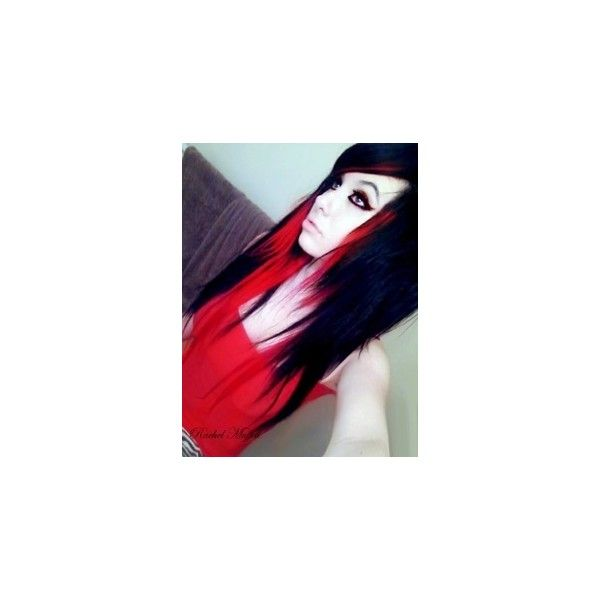 scene girl red and black hair Scene Girls and Boys ❤ liked on Polyvore featuring hair, people, girls, hair styles and pictures